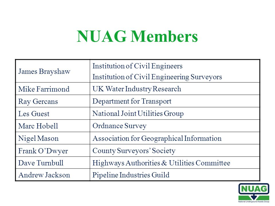 NUAG Members James Brayshaw Institution of Civil Engineers Institution of Civil Engineering Surveyors Mike Farrimond UK Water Industry Research Ray Ge