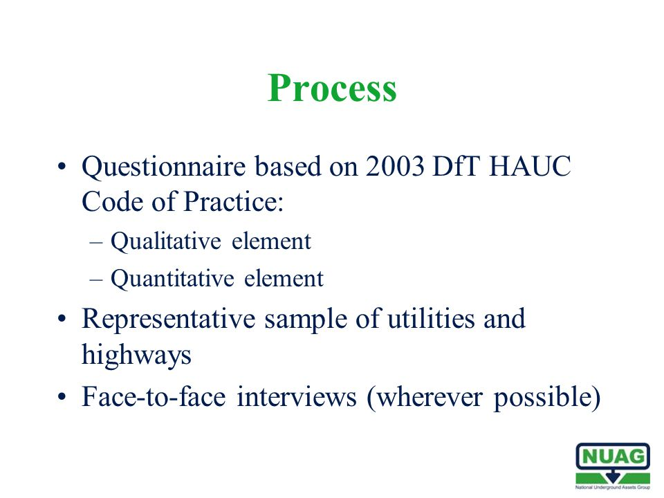 Process Questionnaire based on 2003 DfT HAUC Code of Practice: –Qualitative element –Quantitative element Representative sample of utilities and highw