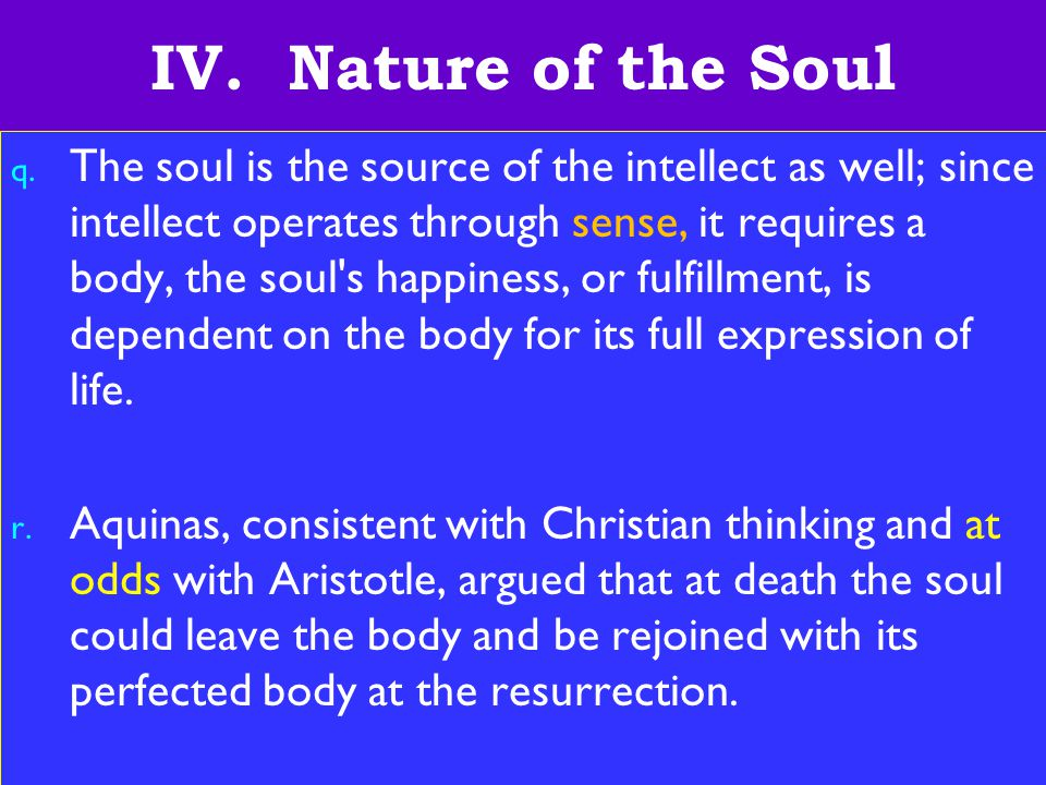 13 IV.Nature of the Soul q.
