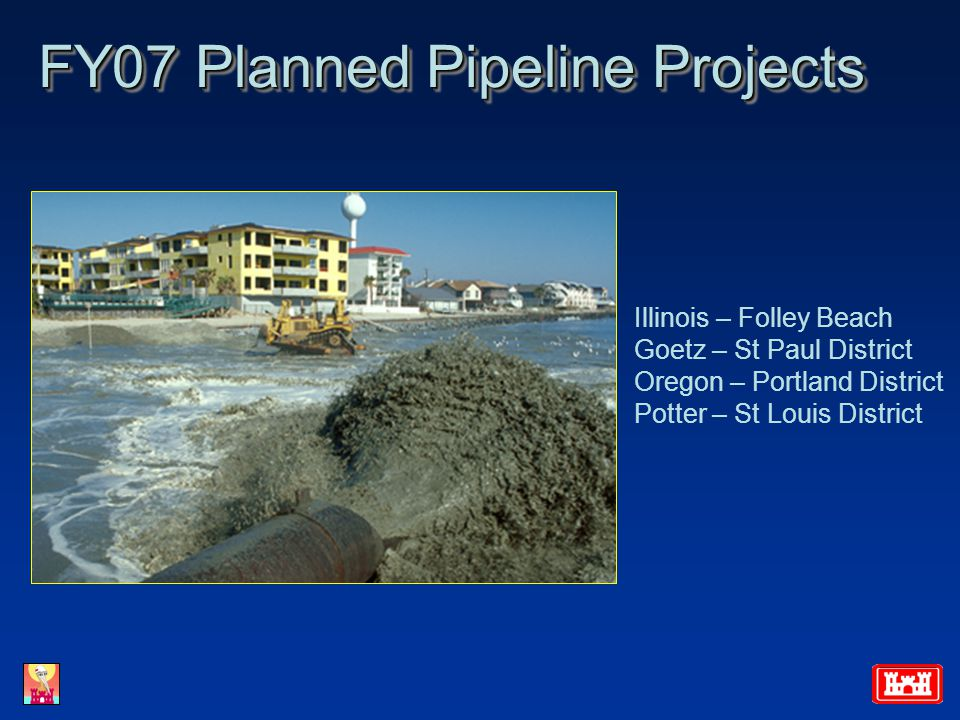FY07 Planned Pipeline Projects Illinois – Folley Beach Goetz – St Paul District Oregon – Portland District Potter – St Louis District