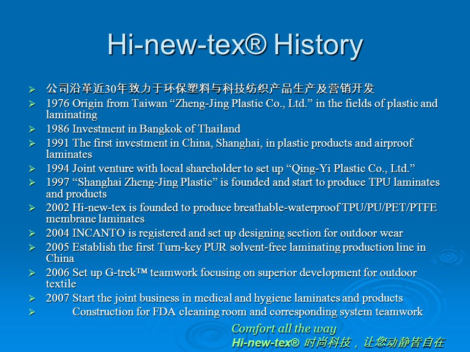 Brand Stories  Hi-new-tex® 时尚科技,让您动静皆自在  Hi-new-tex operates major businesses: performance outwear fabrics, cross- fields apparel, medical & industrial laminates and functional ultrasonic- pressing  Hi-new-tex® trademark origins from Germany and dedicates to Comfort all the way for the integration of superior tech-textile.