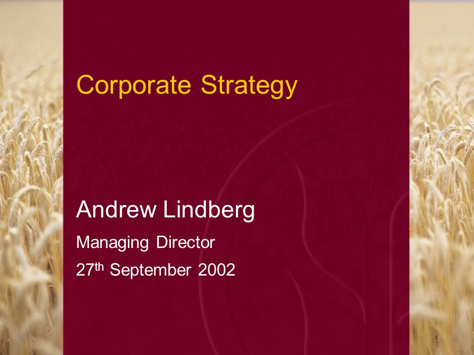Corporate Strategy Andrew Lindberg Managing Director 27 th September 2002