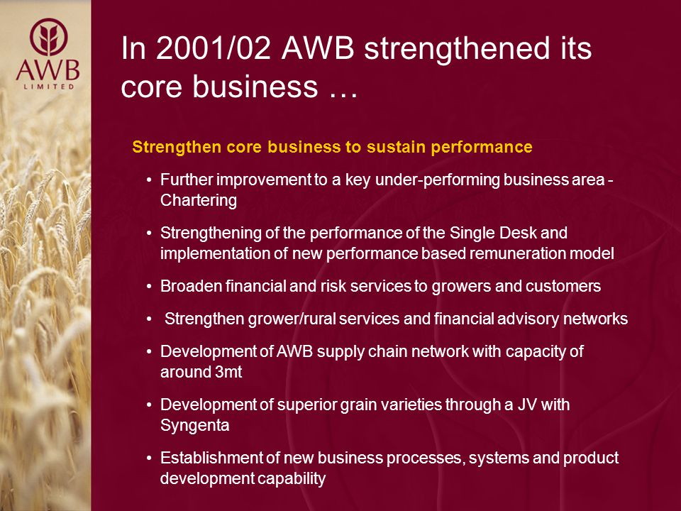 AWB National Pool AWB Pool Management Services International Sales & Marketing Managing the Wheat Supply Chain Risk Management Services Research & Development Grower Services AWB Limited manages AWB National Pool to maximise net pool returns to growers and provide Pool Management Services