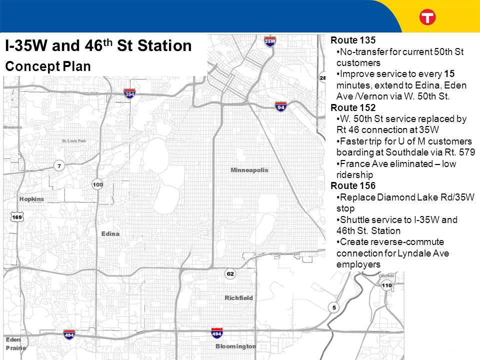I-35W and 46 th St Station Concept Plan Route 46 Every 15 minutes during rush hour between France-Hiawatha Ave Replaces Routes 146, 152 on 50th St Route 535 Every 15 minutes during rush hour Replaces Routes 146 & 576 on 35W Faster travel time on MnPASS HOT lanes Routes 578, 597, 684 provide additional options for reverse commutes Route 135 No-transfer for current 50th St customers Improve service to every 15 minutes, extend to Edina, Eden Ave /Vernon via W.