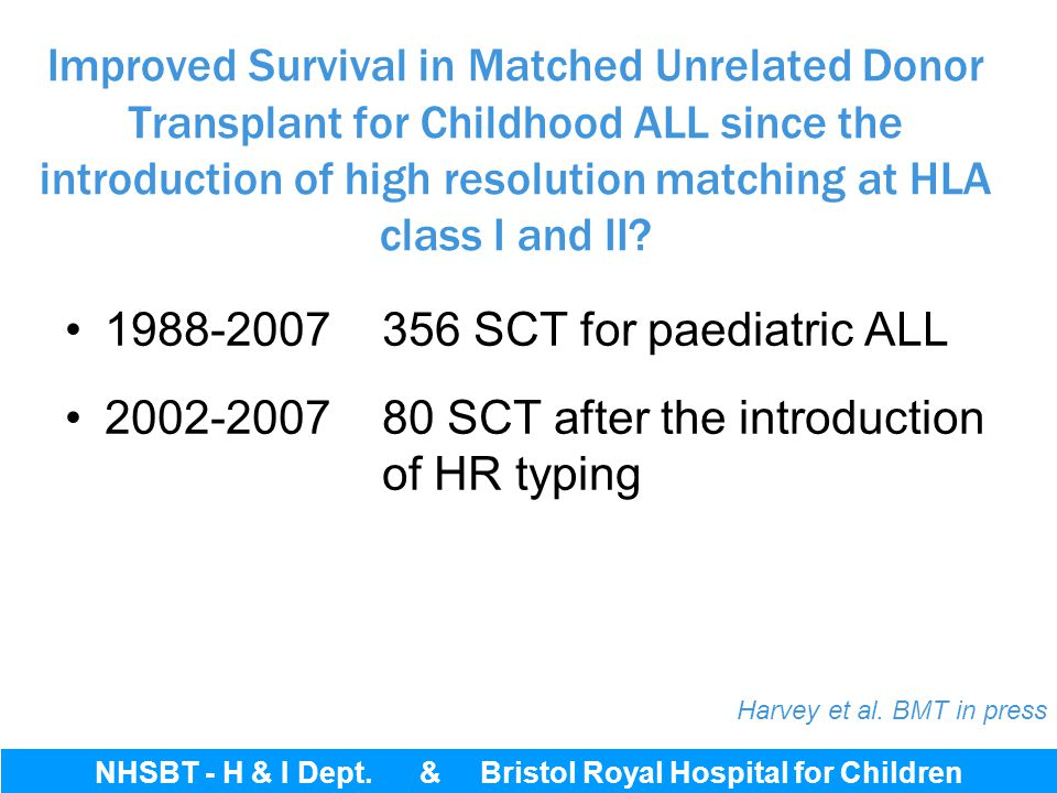 Bristol Royal Hospital for Children 1988-2007 356 SCT for paediatric ALL 2002-2007 80 SCT after the introduction of HR typing Improved Survival in Mat