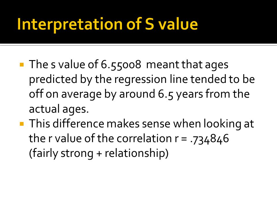  The s value of 6.55008 meant that ages predicted by the regression line tended to be off on average by around 6.5 years from the actual ages.