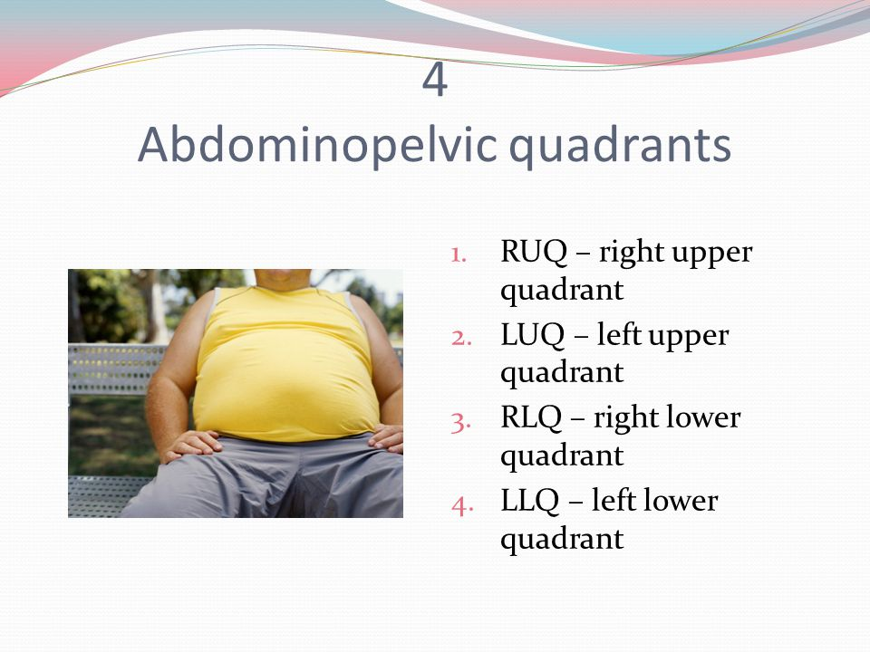 4 Abdominopelvic quadrants 1. RUQ – right upper quadrant 2.