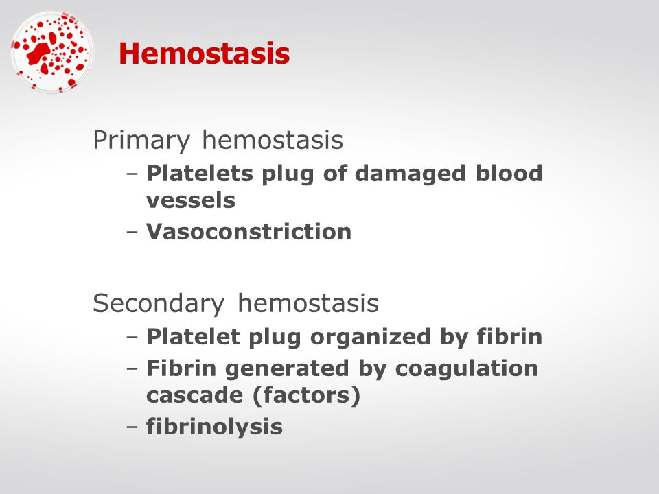 Hemostasis Primary hemostasis –Platelets plug of damaged blood vessels –Vasoconstriction Secondary hemostasis –Platelet plug organized by fibrin –Fibrin generated by coagulation cascade (factors) –fibrinolysis