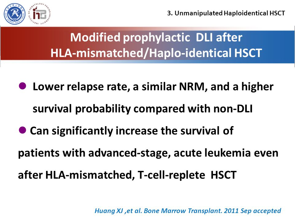 Lower relapse rate, a similar NRM, and a higher survival probability compared with non-DLI Can significantly increase the survival of patients with advanced-stage, acute leukemia even after HLA-mismatched, T-cell-replete HSCT Modified prophylactic DLI after HLA-mismatched/Haplo-identical HSCT Huang XJ,et al.
