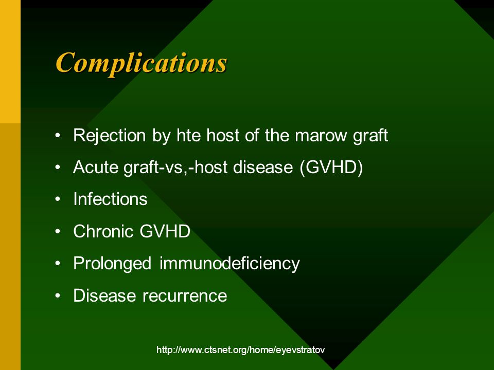 http://www.ctsnet.org/home/eyevstratov Complications Rejection by hte host of the marow graft Acute graft-vs,-host disease (GVHD) Infections Chronic GVHD Prolonged immunodeficiency Disease recurrence