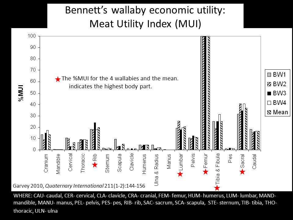 Garvey 2010, Quaternary International 211(1-2):144-156 Bennett's wallaby economic utility: Meat Utility Index (MUI) WHERE: CAU- caudal, CER- cervical,