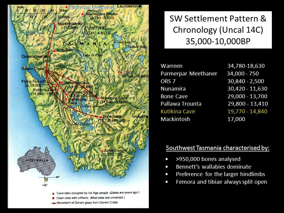 SW Settlement Pattern & Chronology (Uncal 14C) 35,000-10,000BP Warreen 34,780-18,630 Parmerpar Meethaner 34,000 - 750 ORS 7 30,840 - 2,500 Nunamira 30