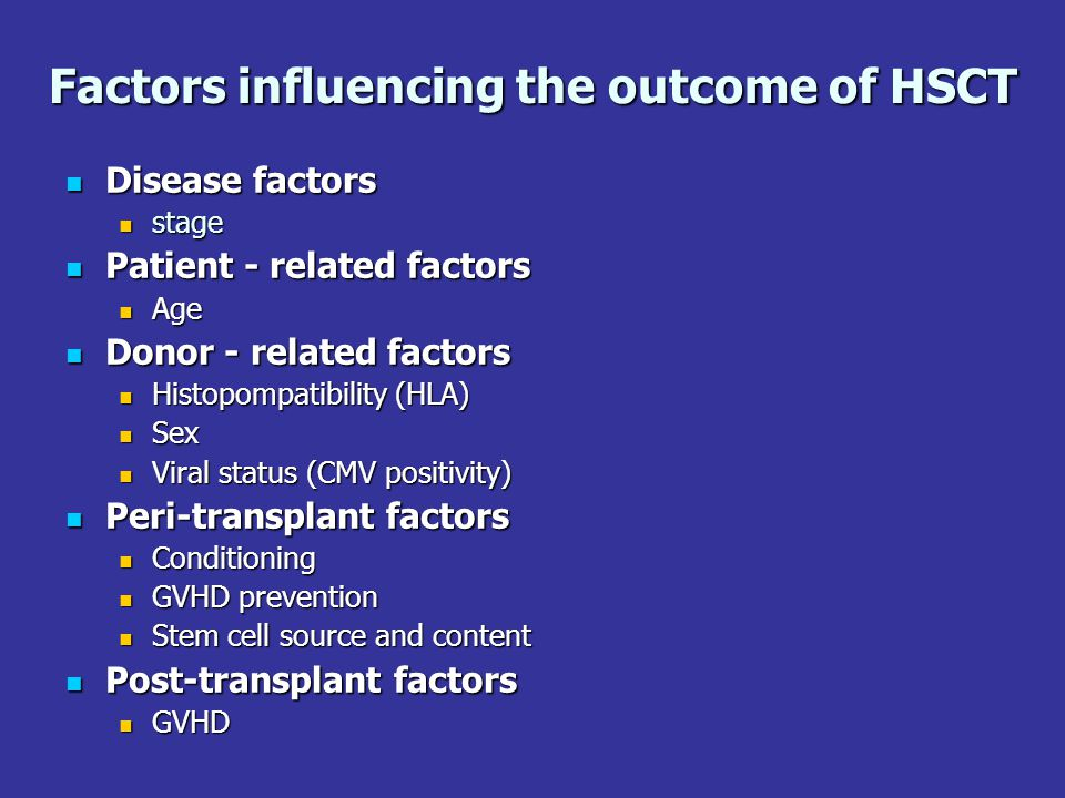 Factors influencing the outcome of HSCT Disease factors Disease factors stage stage Patient - related factors Patient - related factors Age Age Donor