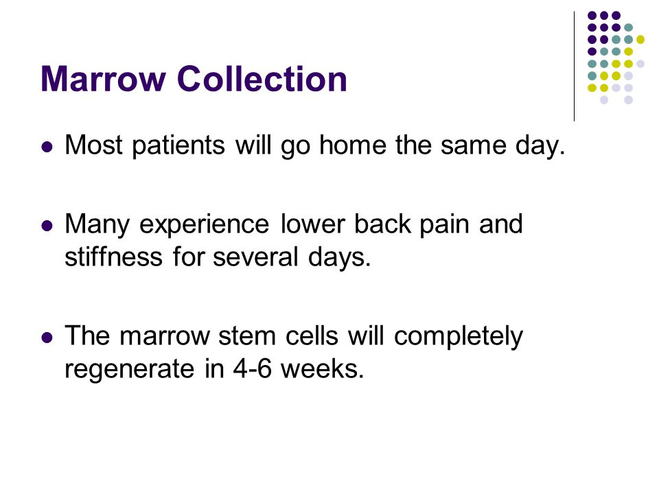 Marrow Collection Most patients will go home the same day. Many experience lower back pain and stiffness for several days. The marrow stem cells will