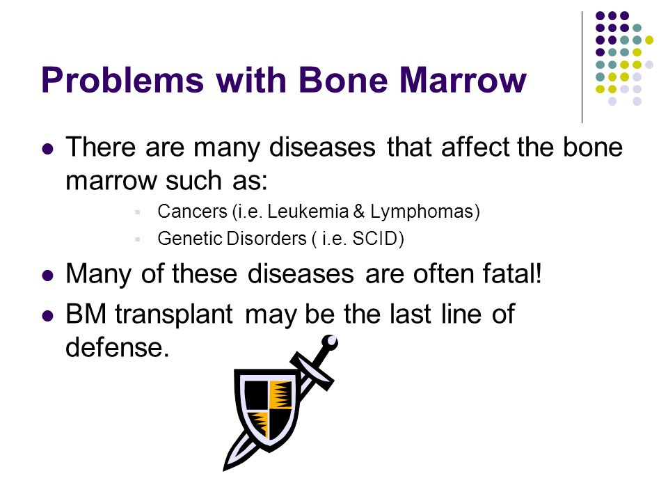 Problems with Bone Marrow There are many diseases that affect the bone marrow such as:  Cancers (i.e.