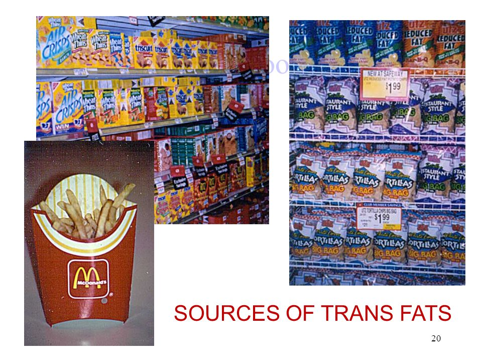Snack Foods SOURCES OF TRANS FATS 20