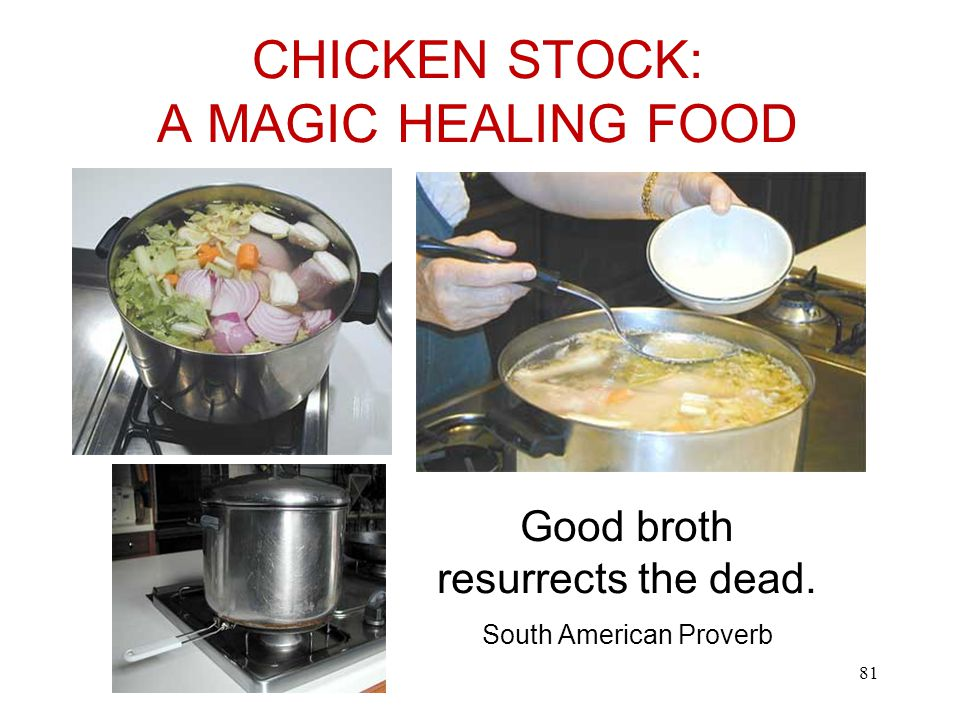 CHICKEN STOCK: A MAGIC HEALING FOOD Good broth resurrects the dead. South American Proverb 81
