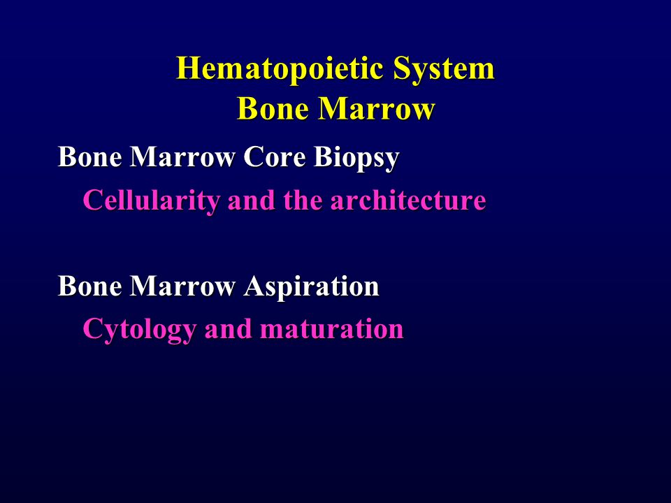 Hematopoietic System Bone Marrow Bone Marrow Core Biopsy Cellularity and the architecture Bone Marrow Aspiration Cytology and maturation