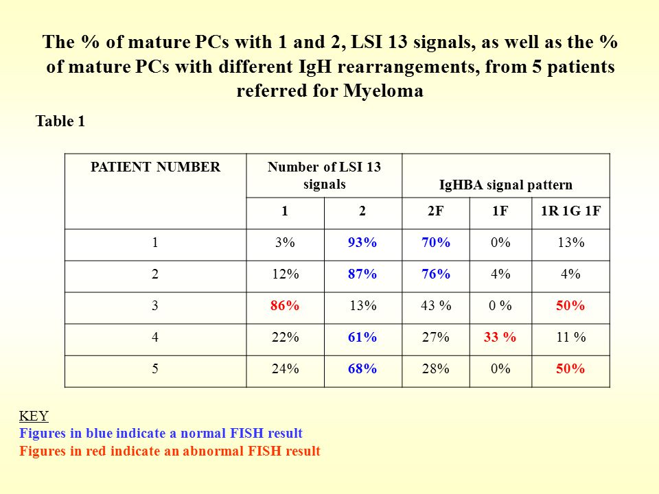 The % of mature PCs with 1 and 2, LSI 13 signals, as well as the % of mature PCs with different IgH rearrangements, from 5 patients referred for Myelo