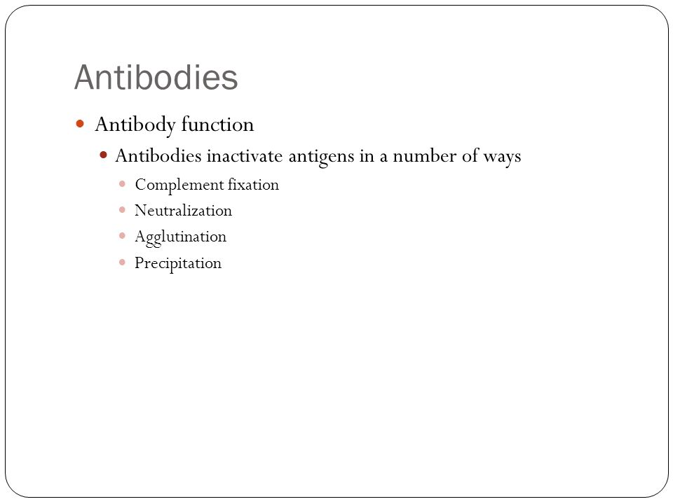 Antibodies Antibody function Antibodies inactivate antigens in a number of ways Complement fixation Neutralization Agglutination Precipitation