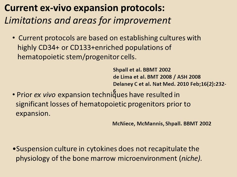 Current ex-vivo expansion protocols: Limitations and areas for improvement Current protocols are based on establishing cultures with highly CD34+ or C
