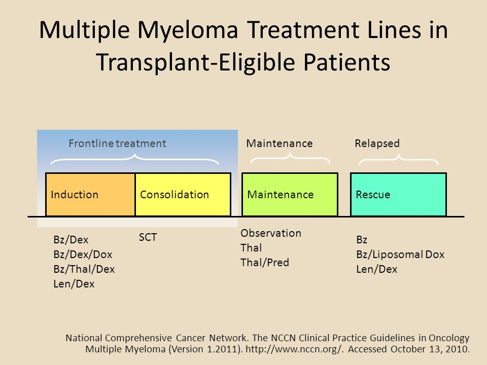 Multiple Myeloma Treatment Lines in Transplant-Eligible Patients InductionConsolidation Frontline treatment Maintenance Rescue Relapsed Bz/Dex Bz/Dex/