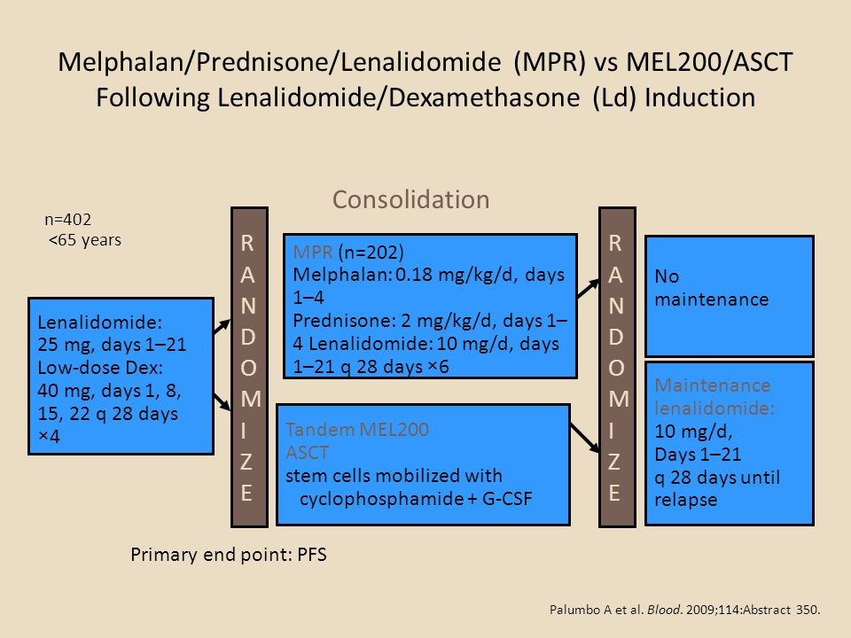 Melphalan/Prednisone/Lenalidomide (MPR) vs MEL200/ASCT Following Lenalidomide/Dexamethasone (Ld) Induction Primary end point: PFS RANDOMIZERANDOMIZE L