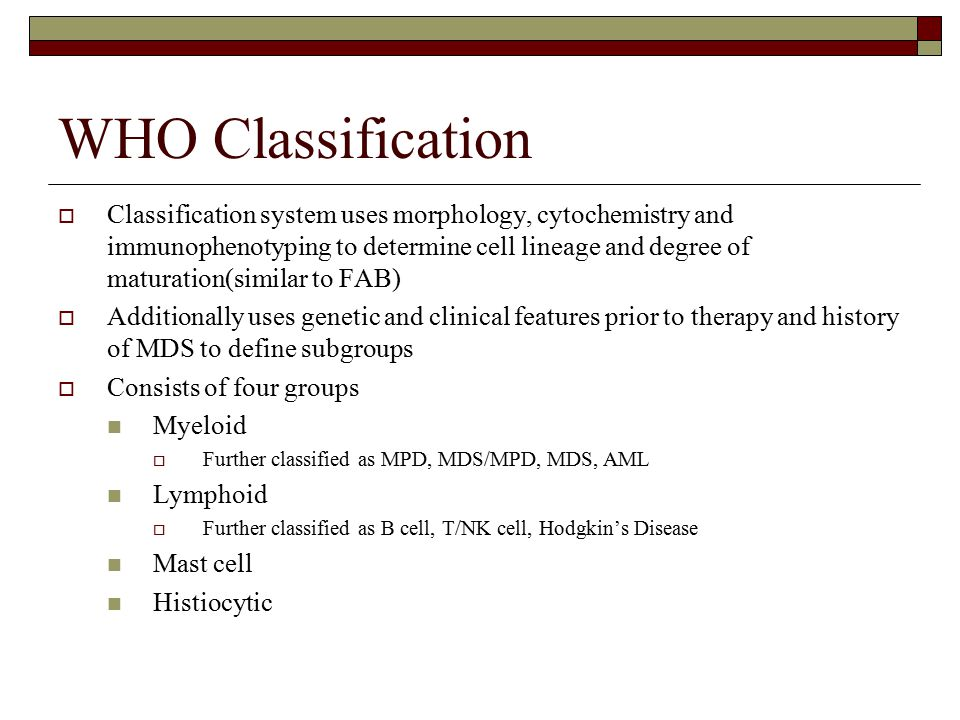 WHO Classification  Classification system uses morphology, cytochemistry and immunophenotyping to determine cell lineage and degree of maturation(sim