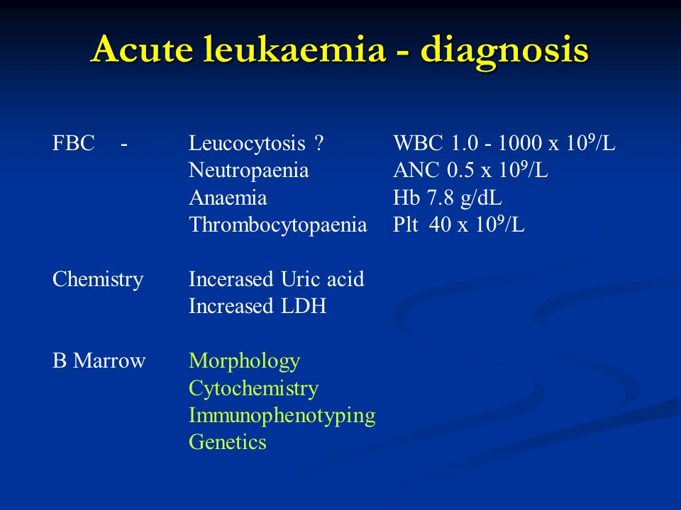Acute leukaemia - diagnosis FBC-Leucocytosis .