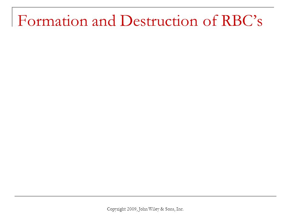 Copyright 2009, John Wiley & Sons, Inc. Formation and Destruction of RBC's