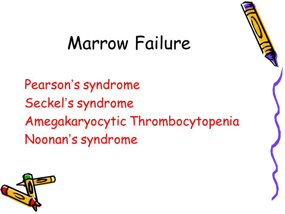 Marrow Failure Pearson ' s syndrome Seckel ' s syndrome Amegakaryocytic Thrombocytopenia Noonan ' s syndrome