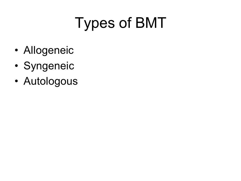 Types of BMT Allogeneic Syngeneic Autologous
