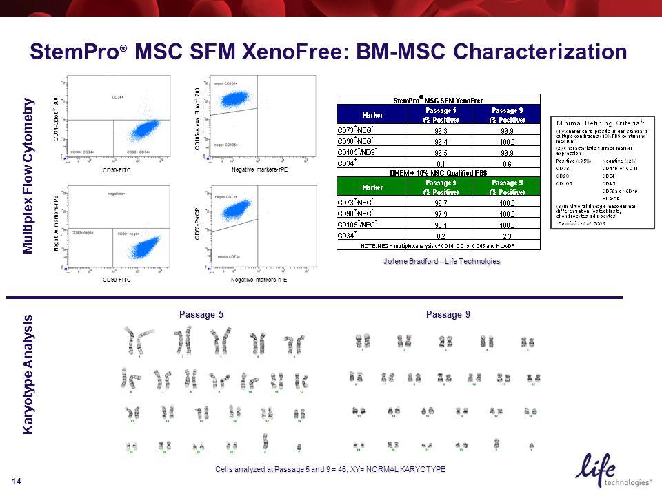 14 Negative markers-rPE CD105-Alexa Fluor ® 700 Negative markers-rPE CD73-PerCP CD90-FITC Negative markers-rPE CD90-FITC CD34-Qdot ® 800 Passage 5 Passage 9 Cells analyzed at Passage 5 and 9 = 46, XY= NORMAL KARYOTYPE Multiplex Flow Cytometry Jolene Bradford – Life Technolgies Karyotype Analysis StemPro  MSC SFM XenoFree: BM-MSC Characterization