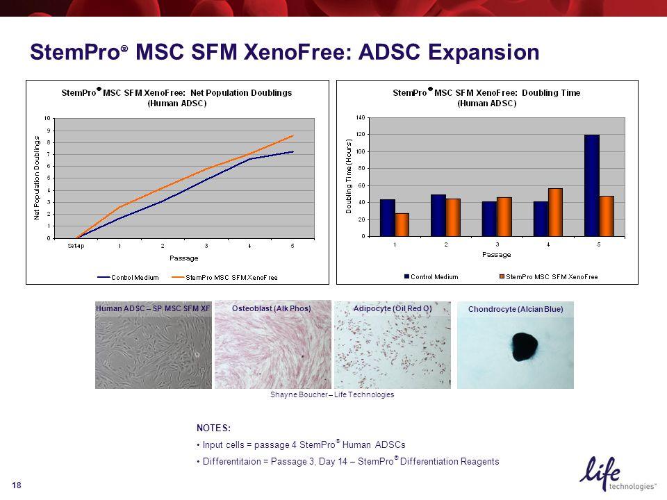 18 Human ADSC – SP MSC SFM XF Shayne Boucher – Life Technologies StemPro  MSC SFM XenoFree: ADSC Expansion NOTES: Input cells = passage 4 StemPro  Human ADSCs Differentitaion = Passage 3, Day 14 – StemPro  Differentiation Reagents Adipocyte (Oil Red O) Chondrocyte (Alcian Blue) Osteoblast (Alk Phos)
