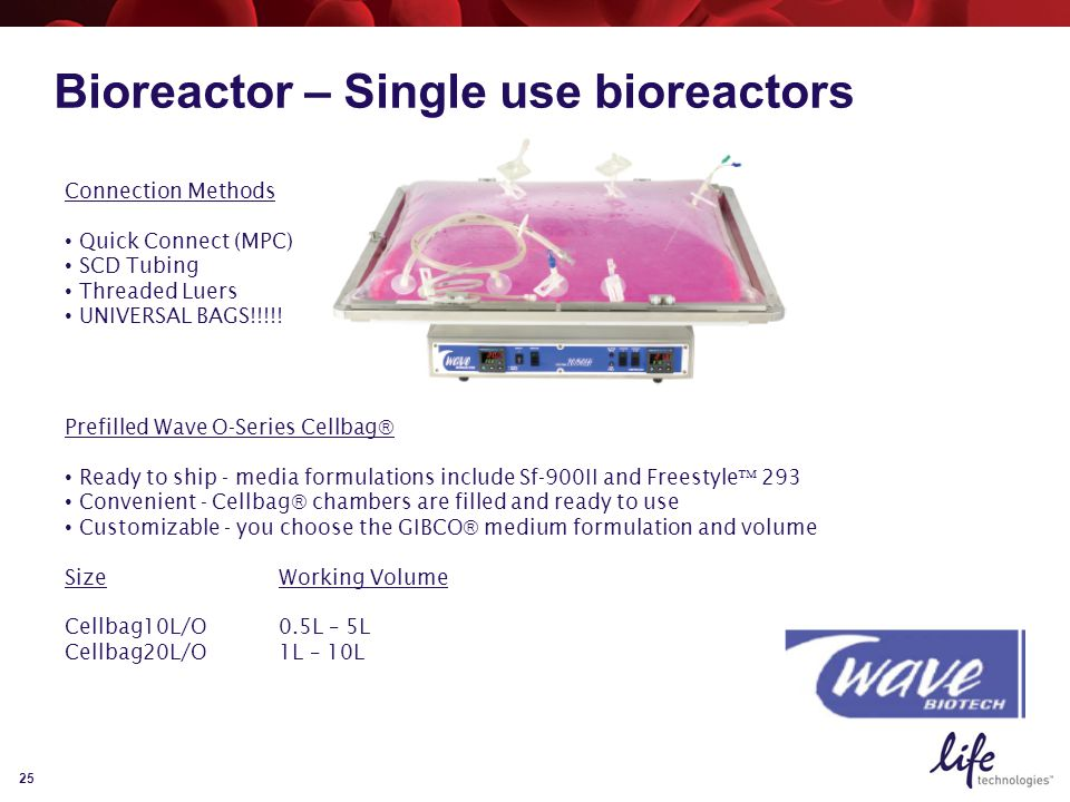25 Bioreactor – Single use bioreactors Prefilled Wave O-Series Cellbag  Ready to ship - media formulations include Sf-900II and Freestyle  293 Convenient - Cellbag  chambers are filled and ready to use Customizable - you choose the GIBCO  medium formulation and volume SizeWorking Volume Cellbag10L/O0.5L – 5L Cellbag20L/O1L – 10L Connection Methods Quick Connect (MPC) SCD Tubing Threaded Luers UNIVERSAL BAGS!!!!!