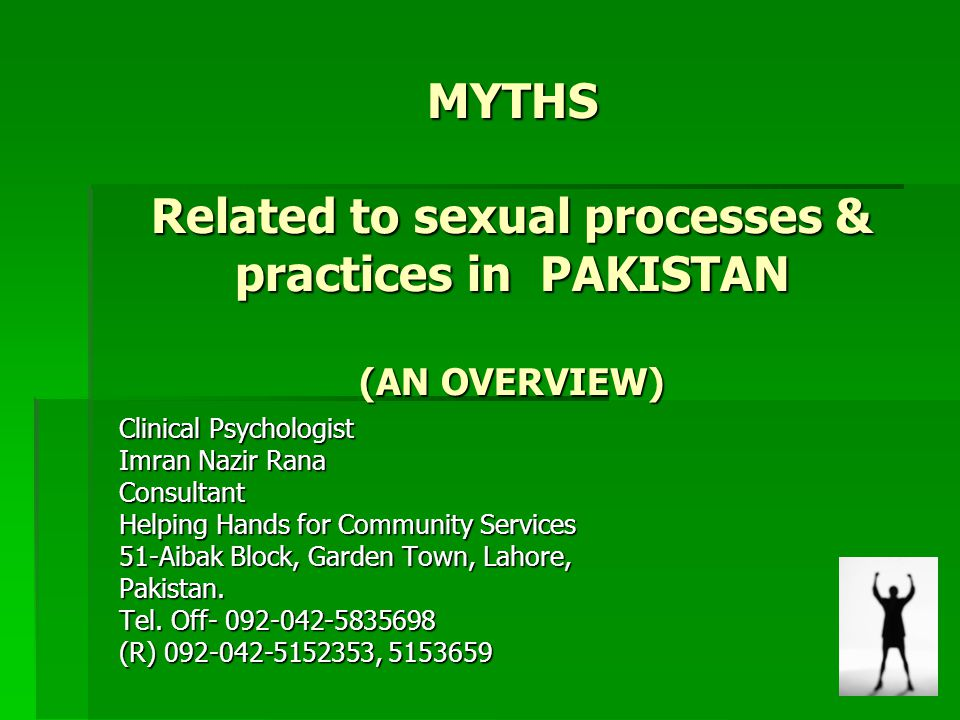 MYTHS Related to sexual processes & practices in PAKISTAN (AN OVERVIEW) Clinical Psychologist Imran Nazir Rana Consultant Helping Hands for Community
