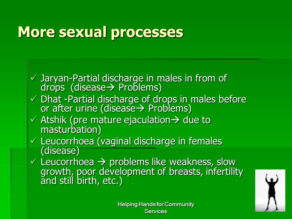 Helping Hands for Community Services More sexual processes Jaryan-Partial discharge in males in from of drops (disease  Problems) Jaryan-Partial disc