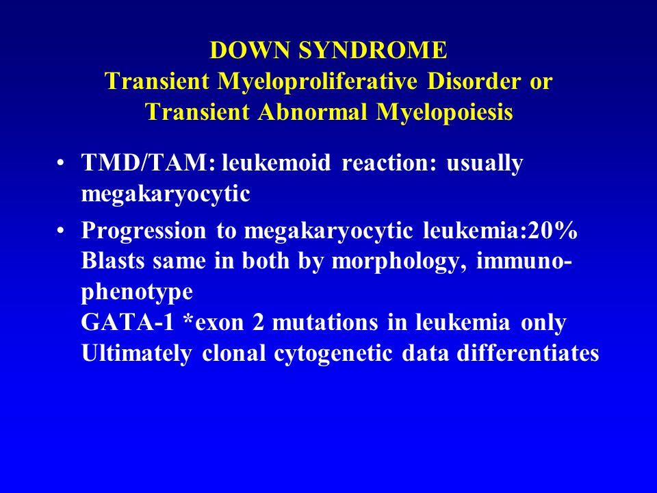 DOWN SYNDROME Transient Myeloproliferative Disorder or Transient Abnormal Myelopoiesis TMD/TAM: leukemoid reaction: usually megakaryocytic Progression to megakaryocytic leukemia:20% Blasts same in both by morphology, immuno- phenotype GATA-1 *exon 2 mutations in leukemia only Ultimately clonal cytogenetic data differentiates