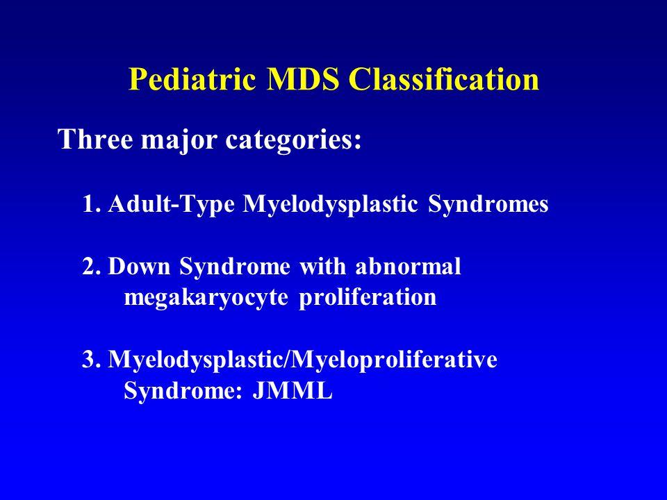 Pediatric MDS Classification Three major categories: 1.