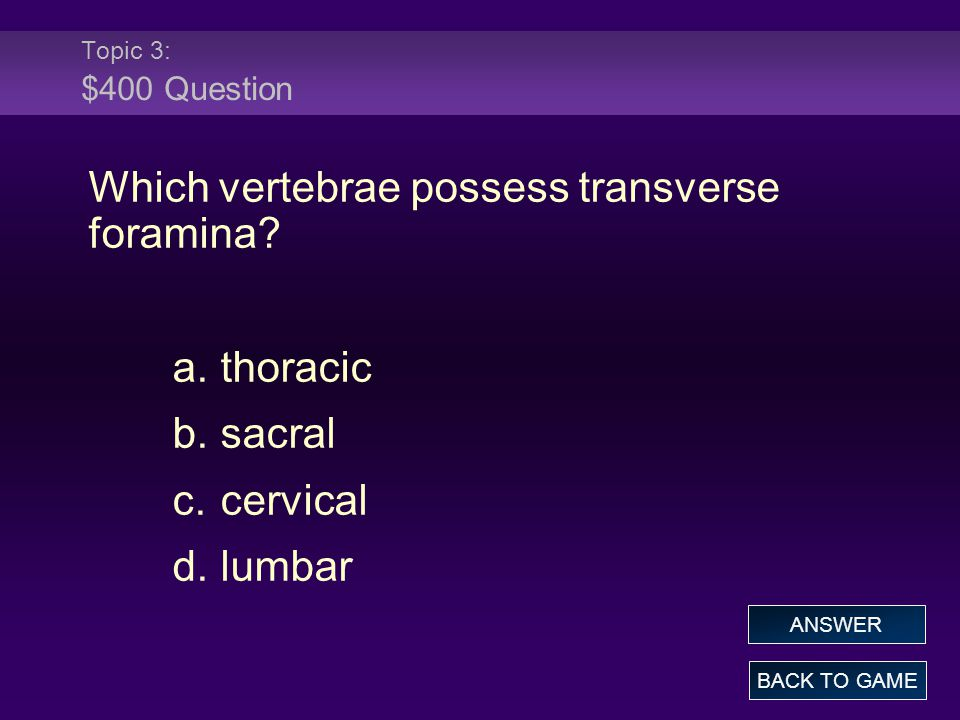 Topic 3: $400 Question Which vertebrae possess transverse foramina.