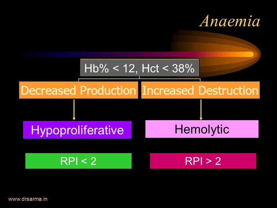 www.drsarma.in Anaemia Hypoproliferative Hemolytic RPI < 2RPI > 2 Hb% < 12, Hct < 38%