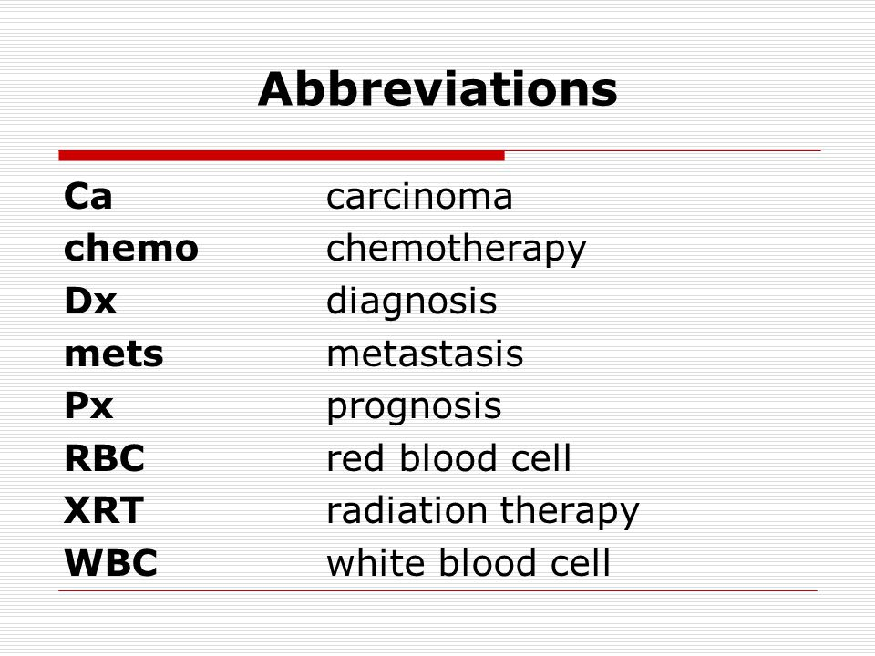 Abbreviations Cacarcinoma chemochemotherapy Dxdiagnosis metsmetastasis Pxprognosis RBCred blood cell XRTradiation therapy WBCwhite blood cell
