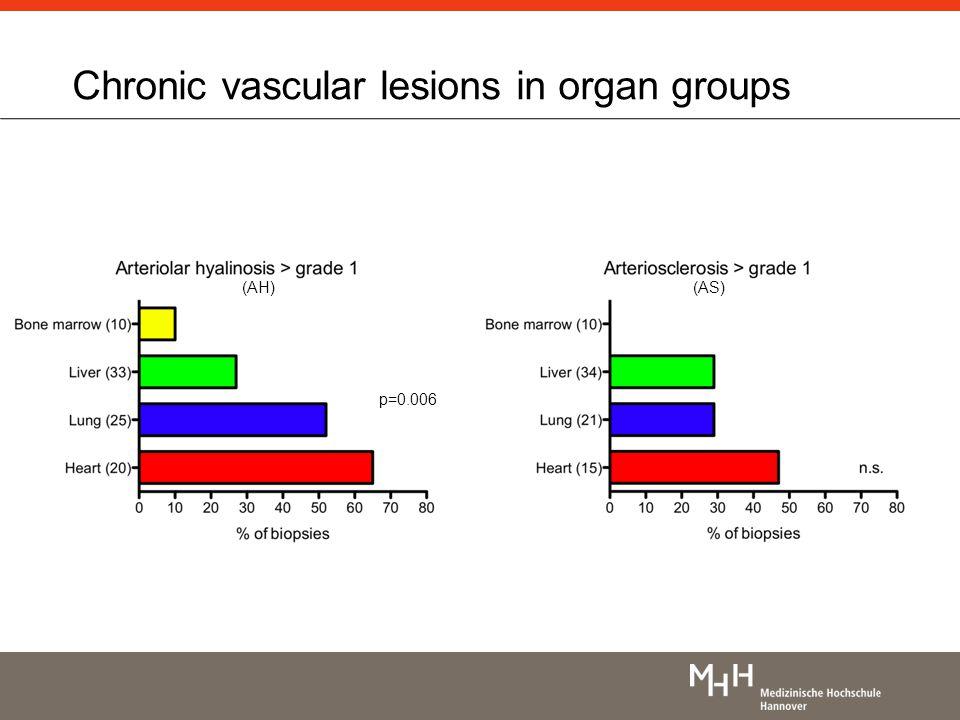 Chronic vascular lesions in organ groups p=0.006 (AH)(AS)