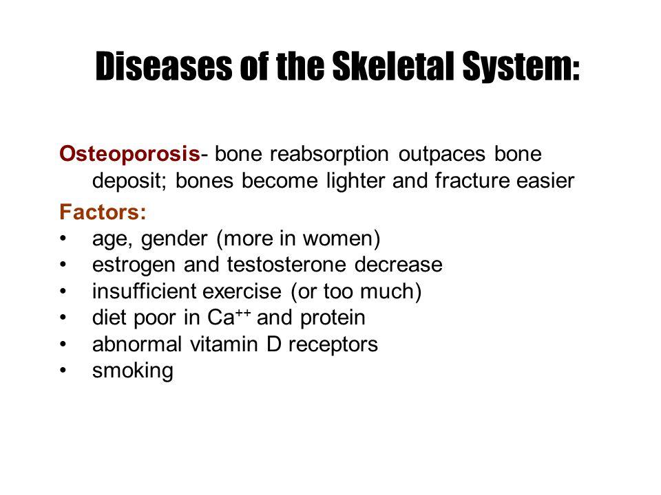 Diseases of the Skeletal System: Osteoporosis- bone reabsorption outpaces bone deposit; bones become lighter and fracture easier Factors: age, gender