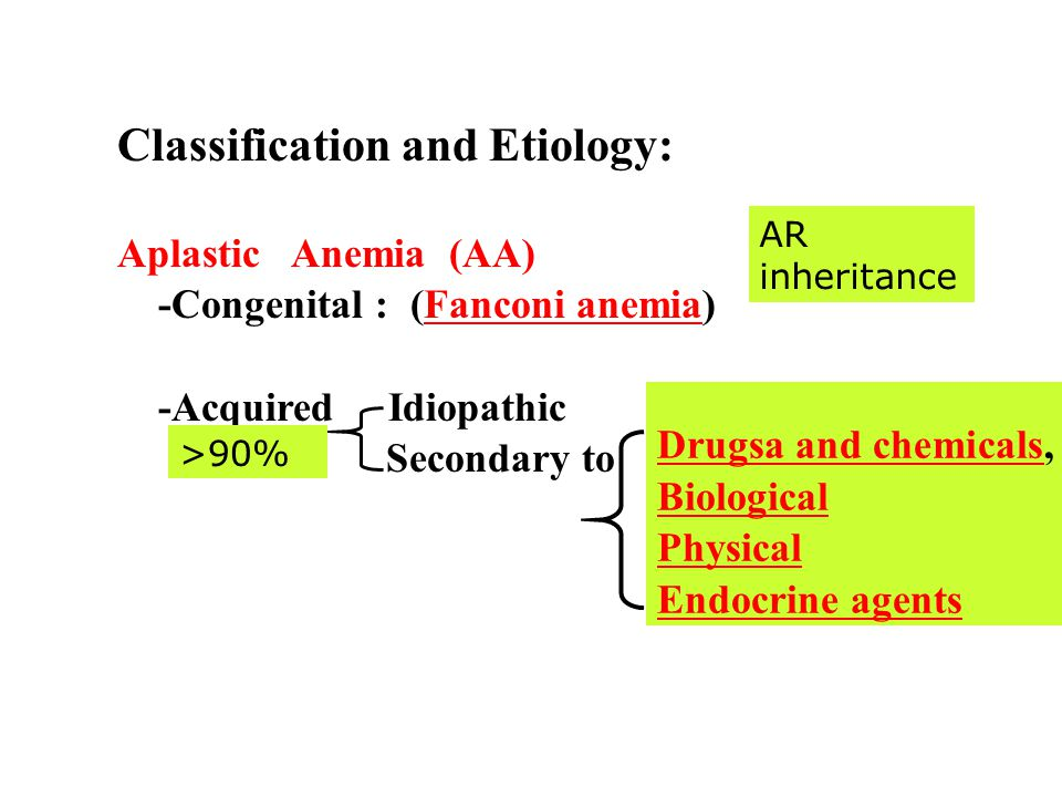 Classification and Etiology: Aplastic Anemia (AA) -Congenital : (Fanconi anemia)Fanconi anemia -Acquired Idiopathic Secondary to Drugsa and chemicalsDrugsa and chemicals, Biological Physical Endocrine agents >90% AR inheritance