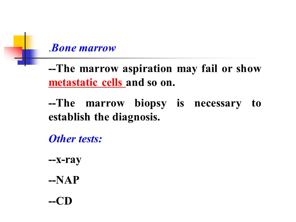 .Bone marrow --The marrow aspiration may fail or show metastatic cells and so on.