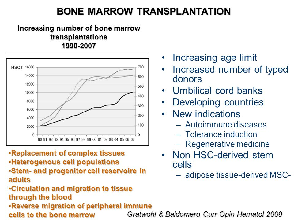 BONE MARROW TRANSPLANTATION Increasing age limit Increased number of typed donors Umbilical cord banks Developing countries New indications –Autoimmune diseases –Tolerance induction –Regenerative medicine Non HSC-derived stem cells –adipose tissue-derived MSC- Gratwohl & Baldomero Curr Opin Hematol 2009 Replacement of complex tissuesReplacement of complex tissues Heterogenous cell populationsHeterogenous cell populations Stem- and progenitor cell reservoire in adultsStem- and progenitor cell reservoire in adults Circulation and migration to tissue through the bloodCirculation and migration to tissue through the blood Reverse migration of peripheral immune cells to the bone marrowReverse migration of peripheral immune cells to the bone marrow Increasing number of bone marrow transplantations 1990-2007