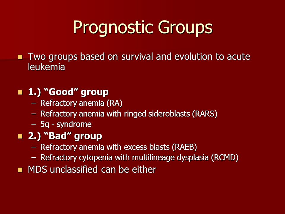 Median Survival – Myelodysplastic Syndromes