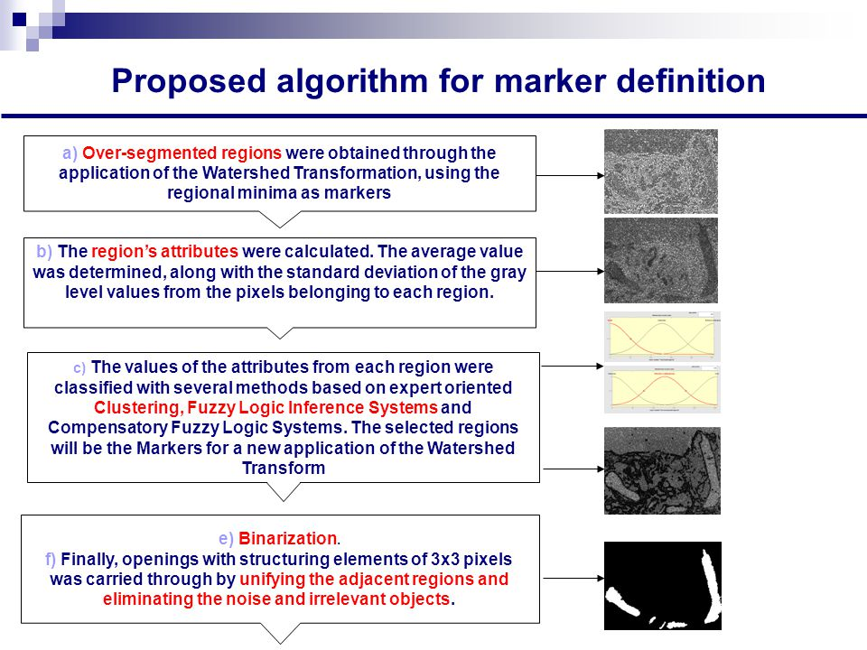 Proposed algorithm for marker definition a) Over-segmented regions were obtained through the application of the Watershed Transformation, using the regional minima as markers b) The region's attributes were calculated.