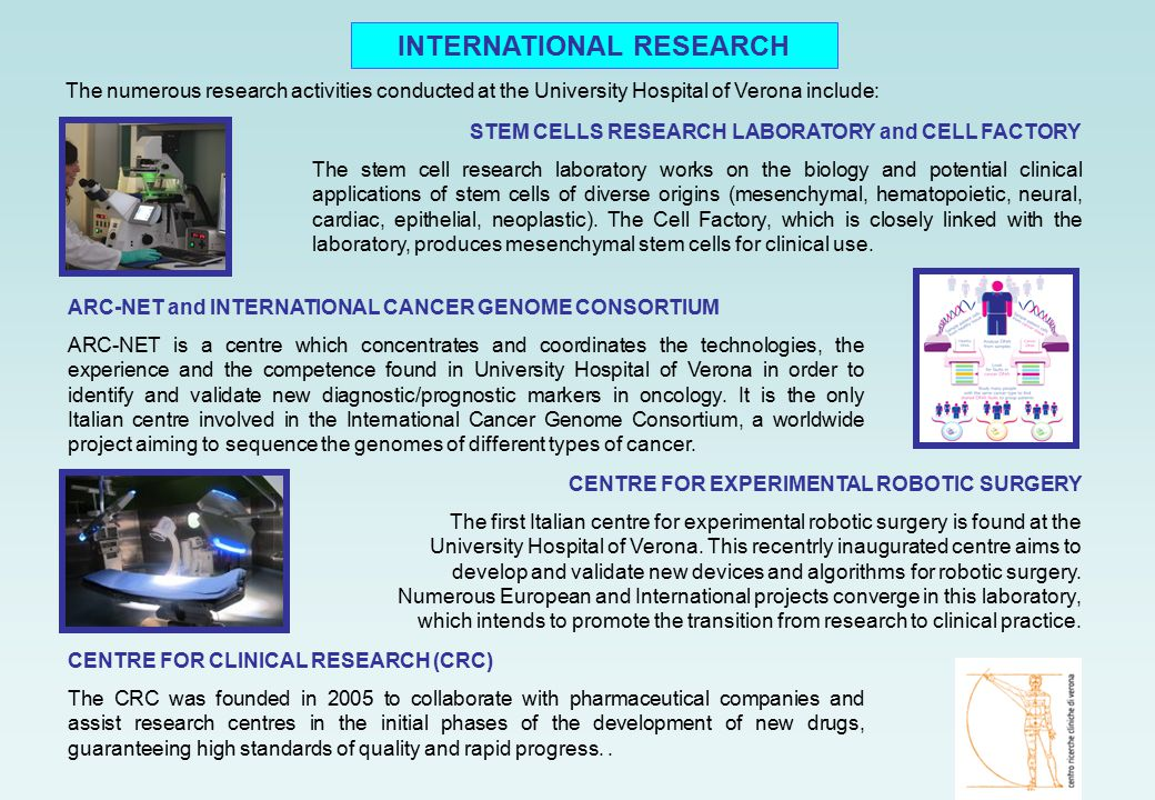 The numerous research activities conducted at the University Hospital of Verona include: ARC-NET and INTERNATIONAL CANCER GENOME CONSORTIUM ARC-NET is